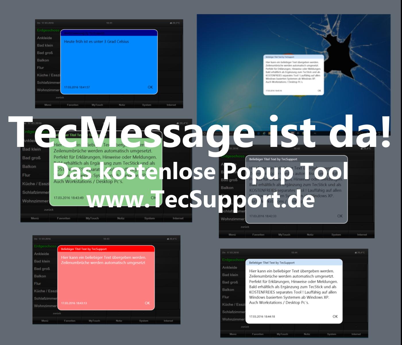 TecMessage Popup Tool für Windows PC in verbindung mit Gira Homeserver
